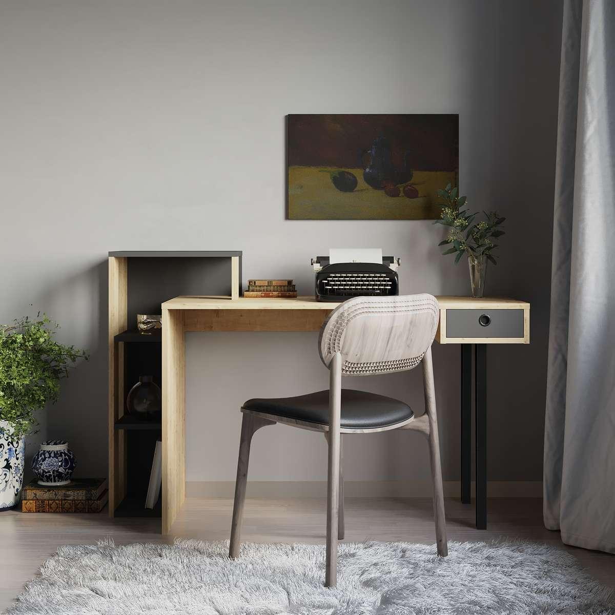 שולחן כתיבה Loyd Study Table אלון/אפור מסדרת Decoline