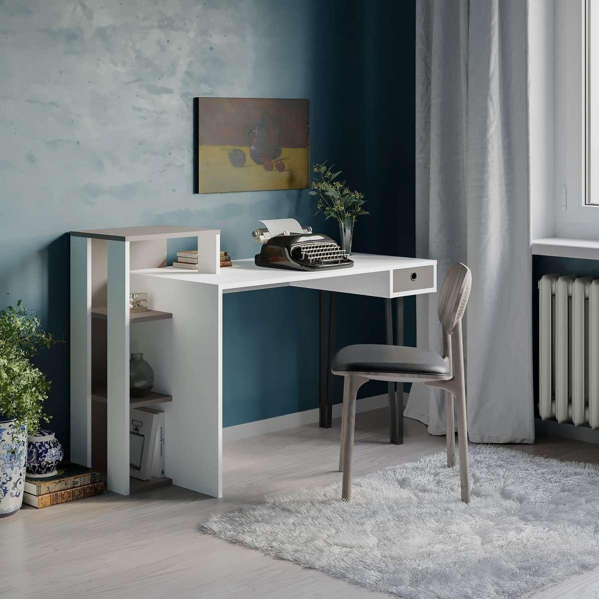שולחן כתיבה Loyd Study Table לבן/מוקה מסדרת Decoline
