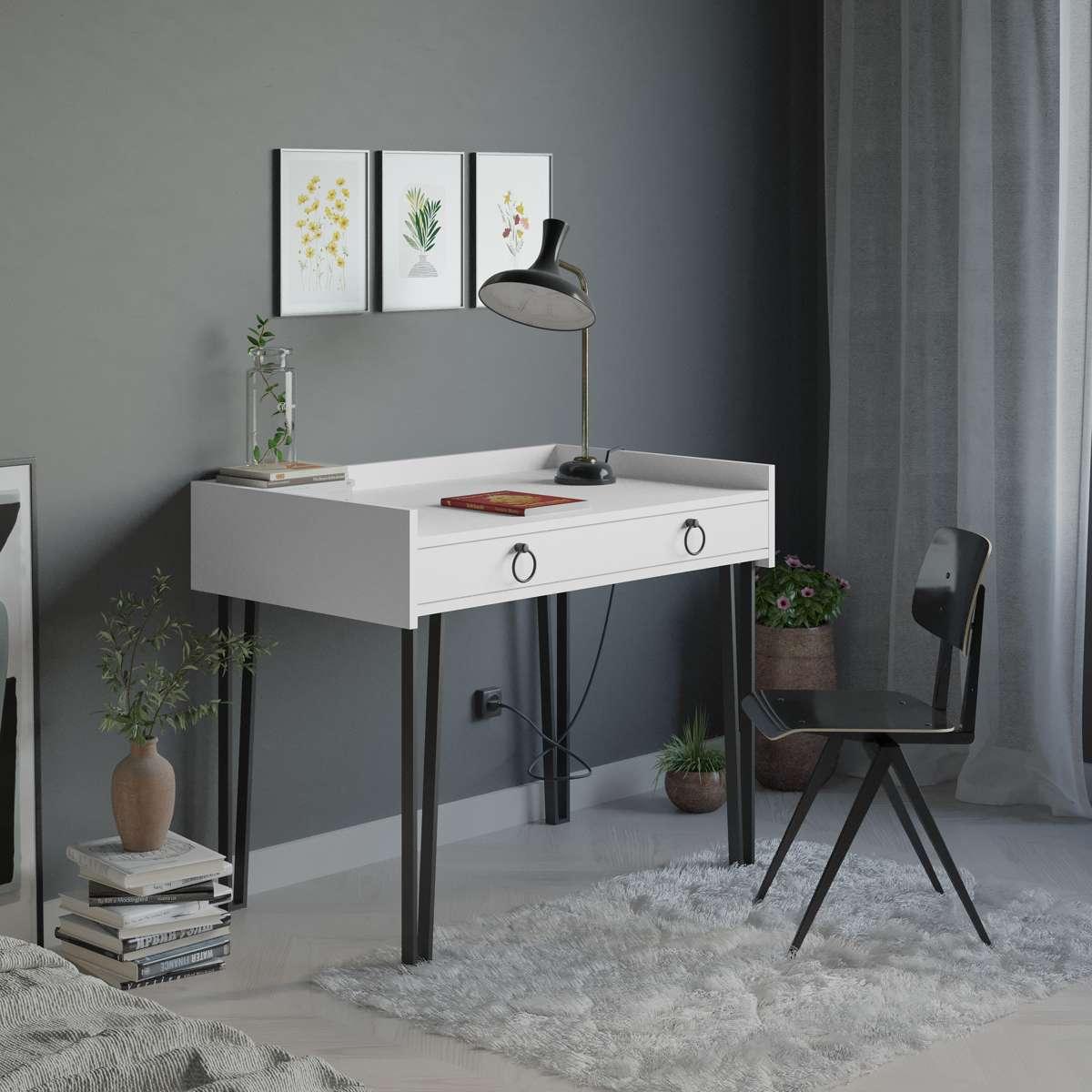 שולחן כתיבה Sponge Study Table לבן מסדרת Decoline