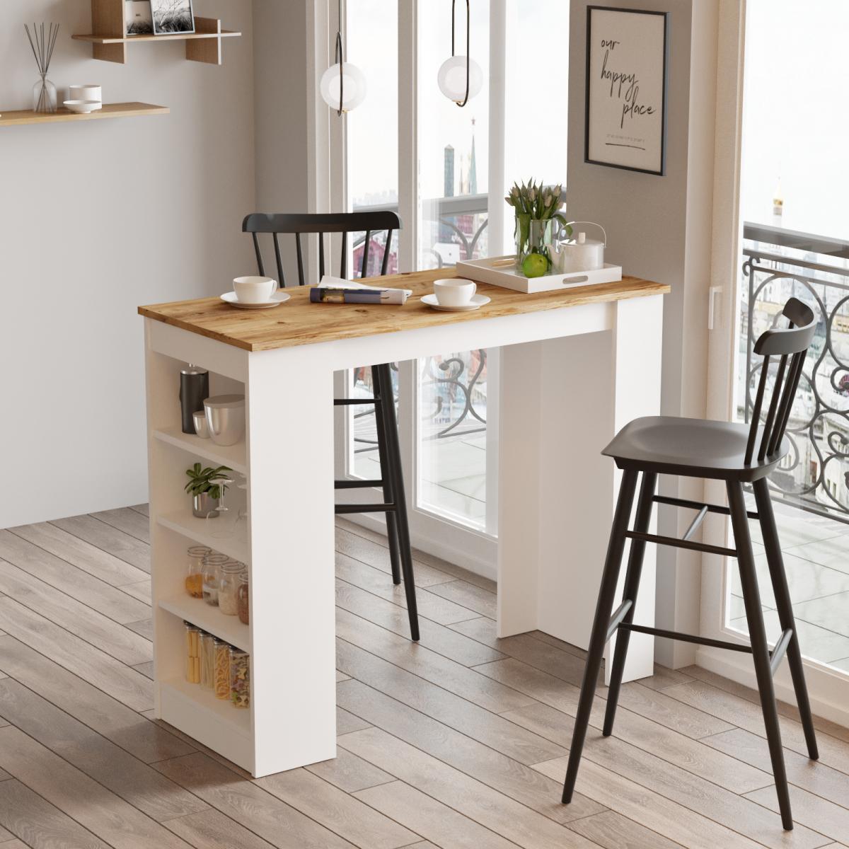 שולחן אוכל דגם ST1-AW אלון/לבן מסדרת Peyton