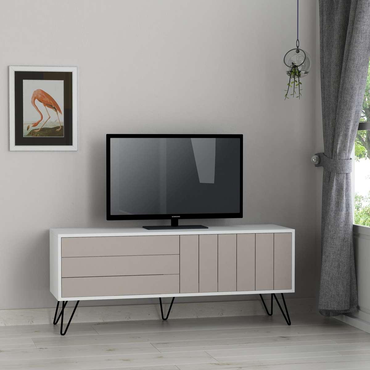 מזנון טלוויזיה PicadillyTV לבן/מוקה 139ס