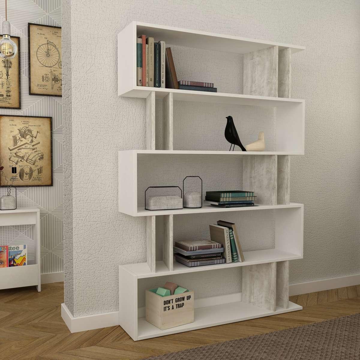 כוננית Partiro Bookcase לבן/אלון מולבן מסדרת Decoline