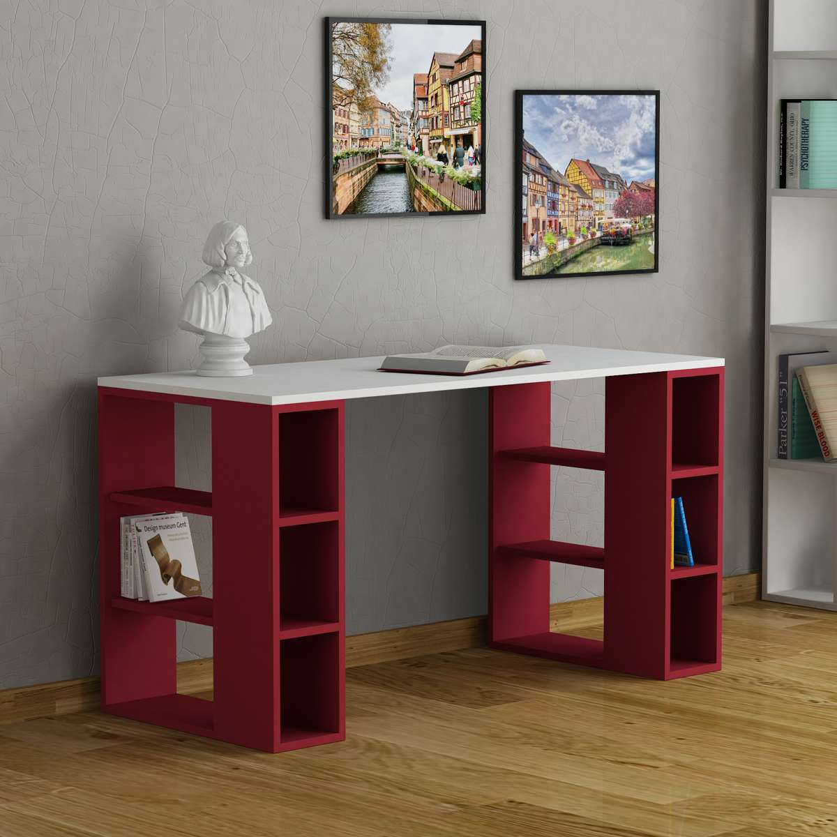 שולחן כתיבה Colmar לבן/אדום מסדרת Decoline