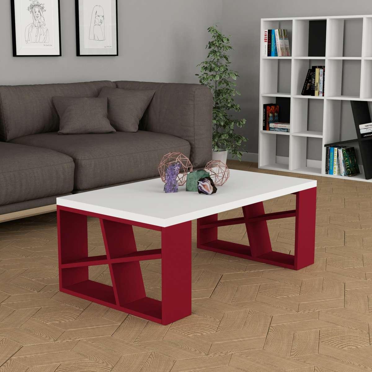 שולחן סלון Honey Coffee Table לבן/אדום מסדרת Decoline