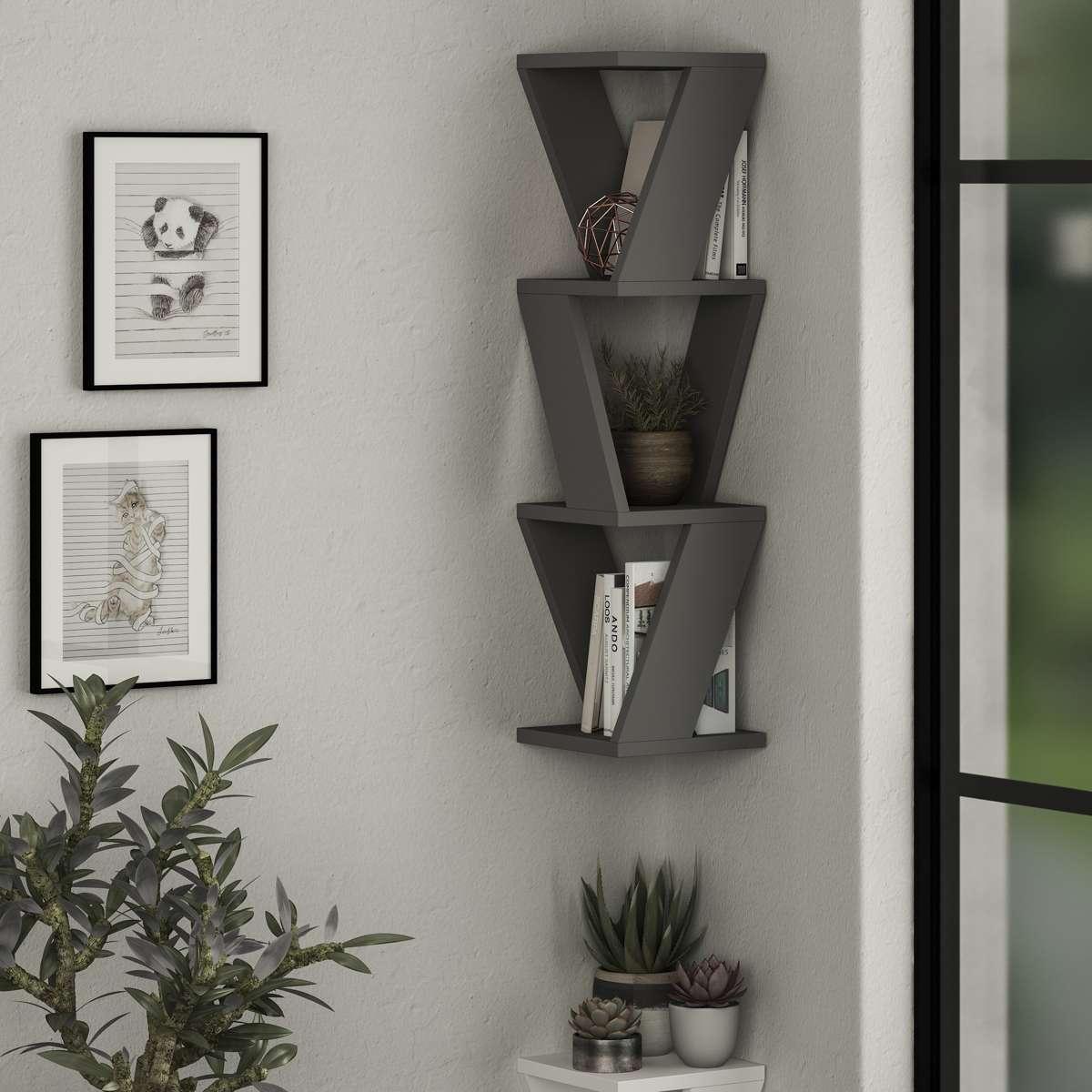 כוורת לתלייה Zena Corner Bookcase אפור מסדרת Decoline