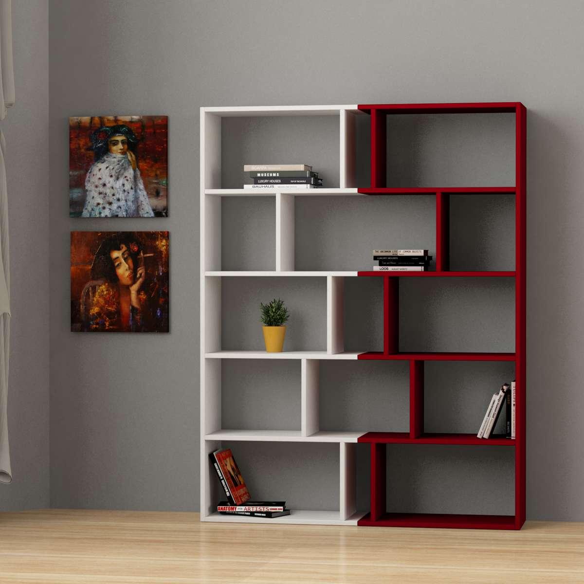 זוג כוננית  Tapi Bookcase Set of 2 לבן - אדום מסדרת Decoline