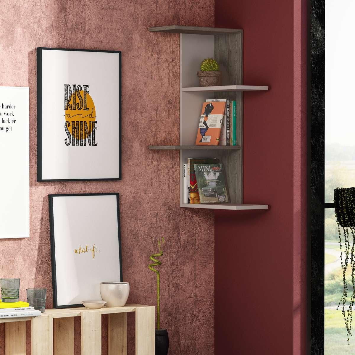 כוורת לתלייה  Saso Corner Shelf מוקה/קפה מסדרת Decoline