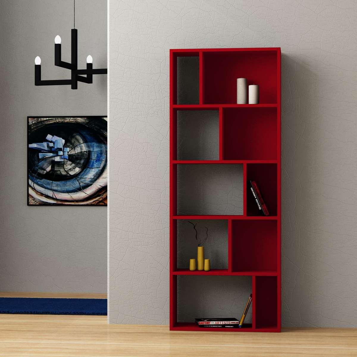 כוננית Onda Bookcase אדום מסדרת Decoline