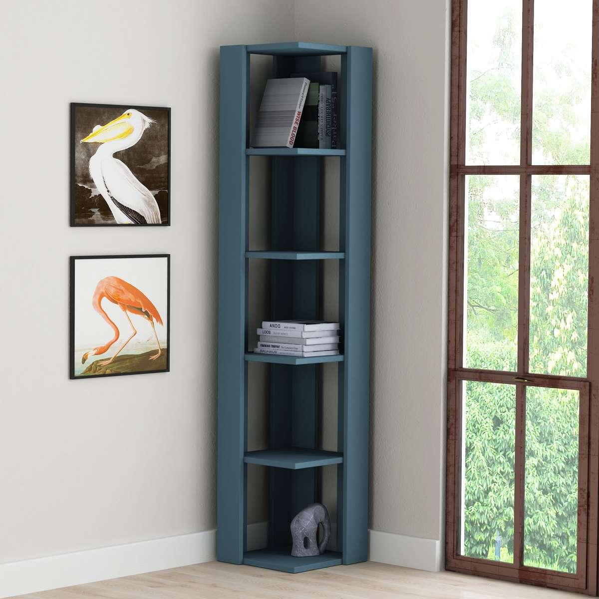כוננית פינתית Nati Corner Bookcase טורקיז מסדרת Decoline