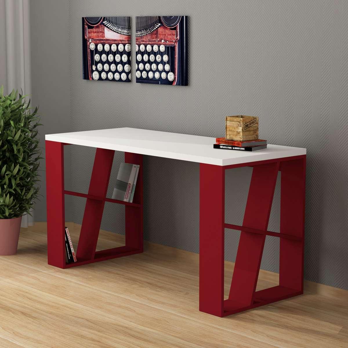 שולחן כתיבה Honey Working table לבן/אדום מסדרת Decoline