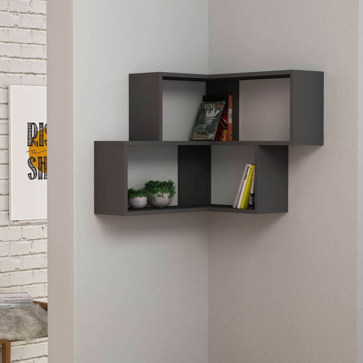 כוורת מדפים Corner Shelf אפור מסדרת Decoline