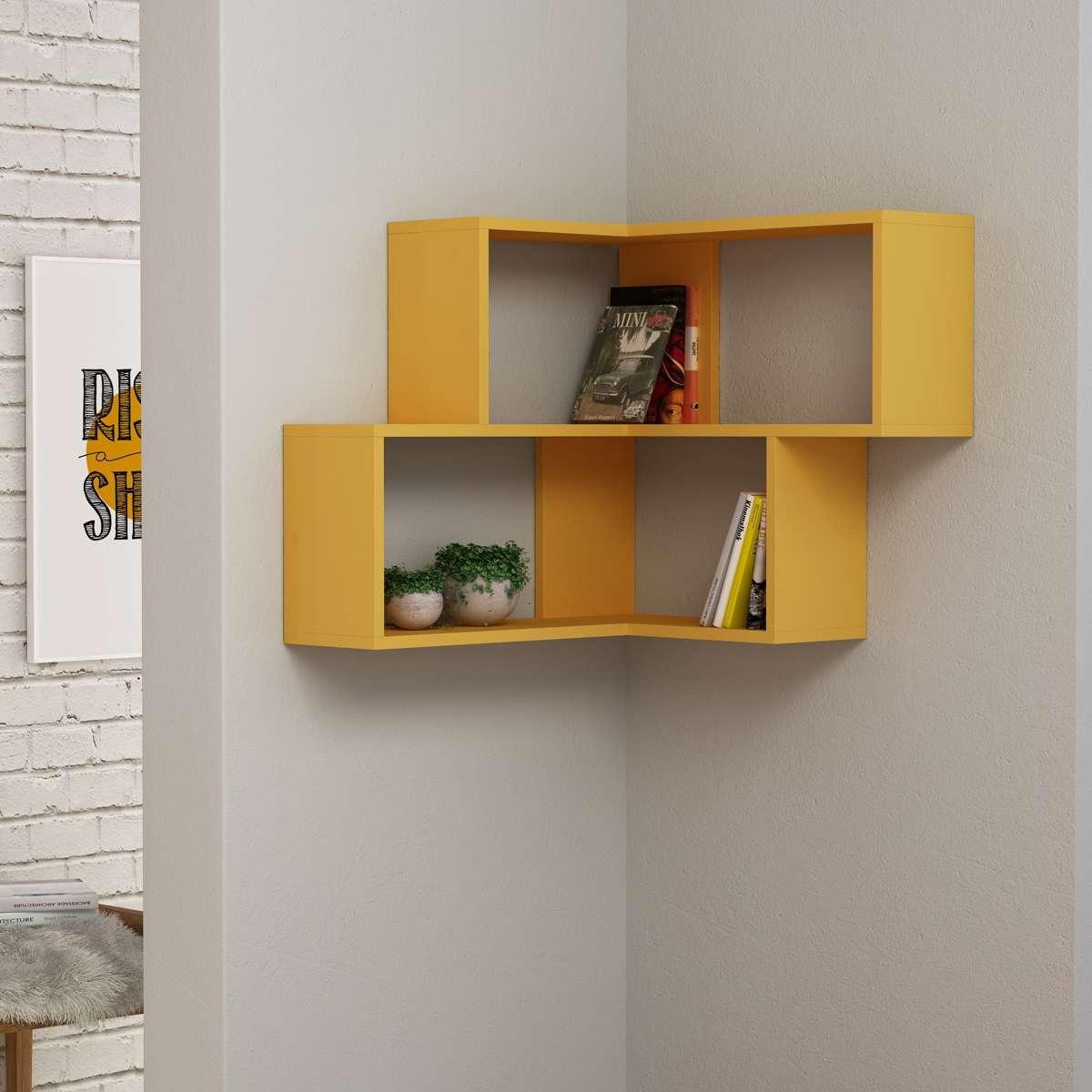 כוורת מדפים Corner Shelf צהוב מסדרת Decoline