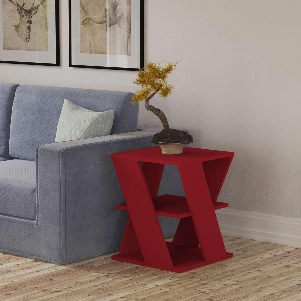 שולחן צד Cyclo אדום מסדרת Decoline